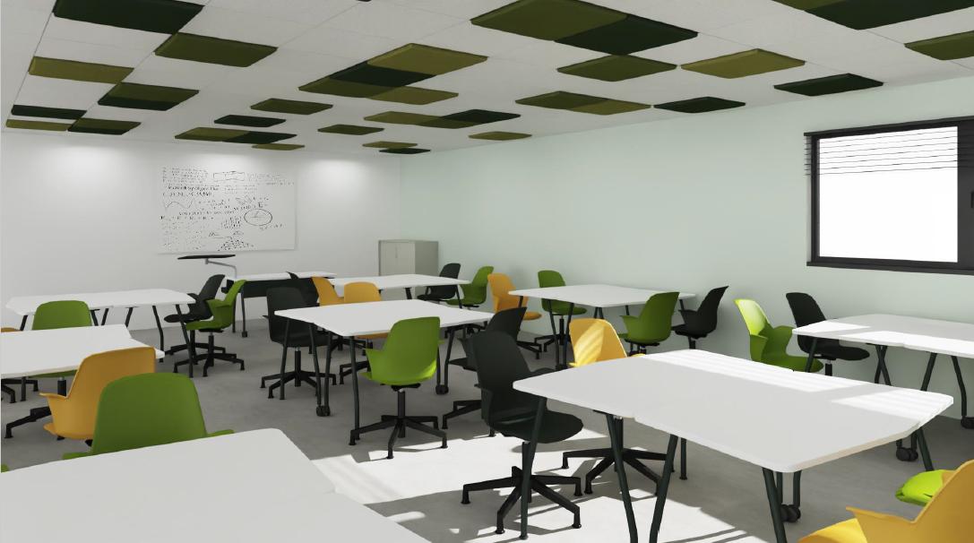 salle de classe rendu 3D